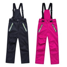 Wholesale Warm Pants For Kids - Wholesale- Ski Pants Kids Waterproof Windproof Winter Snowboard Ski Trousers for boy Cotton Pad Warm Girls Skiing Pants Snow Size S-XXXL
