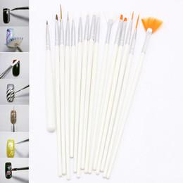 Wholesale uv false nail kit - Wholesale- 15pcs Nail Art Brush Design Painting Dotting Detailing Pen Brushes Bundle Tool Kit Set for False Nail Tips UV Nail Gel Polish