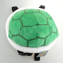 Wholesale Turtles School Bag - Super Mario Bros Koopa Troopa Turtle Shell Plush Backpack 25cn Green Outdoor Travel Bag School Bag for Kids Girls Boys WIth Tag