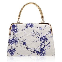 Wholesale Envelope Satchel - Women PU Leather Shoulder Bag Tote Purse Handbag Messenger Crossbody Satchel Chinese style blue and white porcelain bag