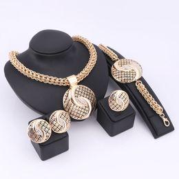Wholesale Vintage Stud Earrings Wedding - Nigeria Trendy Hollow Jewelry Sets Women Zinc Alloy Necklaces Lady Bracelets Rings Stud Earrings Gold Plated Vintage Accessories