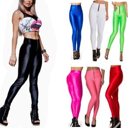 Wholesale Womens Pants Large - Womens Candy Color Stretch Fluorescence Leggings Large size butt-lifting pants motion High waist Tight 151021 Free Shipping