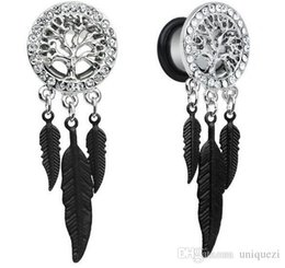 Wholesale Ear Tunnel 25mm - 1Pairs Retro Dream Catcher Feathers Dangle Ear Plug Flesh Tunnel Expander 10-25mm