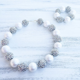 Wholesale Girls Silver Beaded Bracelet - White Pearl beads Silver Color Rhinestone beads Chunky Kids Necklace girl chunky necklace&Bracelet SetCB808