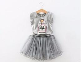 Wholesale Elegant Suits Fashion Set - 2016 Summer New Fashion Girls Clothing Sets Kids Bow Elegant Perfume Bottles T shirt + Gauze Skirt Suits Children Clothes Set