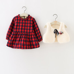 Wholesale Dress Girl Fur - Everweekend Girls Plaid Ruffles Sweet Dress with Fur Vest 2pcs Sets Autumn Winter Western Fashion Clothes Cute Baby Dress