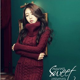 Wholesale Women S Dress Korean - New 2017 Winter Women Sweater Dress Korean High-Necked Long Slim Twist Thick Knitted Sweater Dress Bottoming Women Winter Dress plus size
