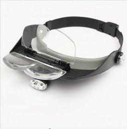 head magnifier led Canada - 4 Lens Headband LED Head Light Magnifier Magnifying Glass Loupe