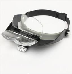 Wholesale Head Light Lens - 4 Lens Headband LED Head Light Magnifier Magnifying Glass Loupe