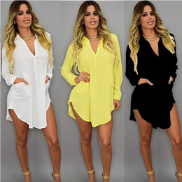 Wholesale Sexy Blouses Long Sleeves - New Vestidos 2016 Spring Summer Blouses Women Dress Long Sleeve V Neck Chiffon Tops Shirt Dresses Asymmetric Oversized Sexy Blusas Plus size