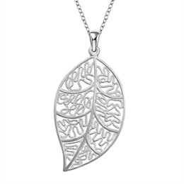 Wholesale Sterling Silver Fashion Jewerly - Hollow Leaf Pendant Fashion Jewerly 925 Sterling Silver Plated Rolo Chain Carve Leaves Charms Necklace Lady Girls' Beauty Christmas Gifts