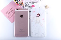 Wholesale Cute Korean Iphone Cases - Hotsale Korean style White wedding dress for iphone 6   6s painted phone shell new 3D relief two-in-one tpu cute explosion protection case
