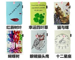 Wholesale Animal Cases For Tablets - Clover Lucky Leaf Cartoon Smart Leather Case Stand Pouch For Ipad Mini 4 1 2 3 tablet Cute Cat Owl Tree Flower Red Lip Soft TPU Skin Cover