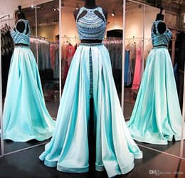 Wholesale sweet 16 high low dresses - 2016 Rachel Allan Two Pieces Prom Dress Art Deco-inspired Neck with High Low Short Skirt Beaded Top Soft Satin Sweet Sixteen Evening Gowns