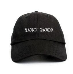 Wholesale Plain White Snapback Hats - Saint Pablo Custom Unstructured Black Dad Hat Cap Snapback Caps Casquette Bone Hats For Men Women Chapeau Plain Visors Flat Gorras Hat