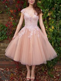 Wholesale Maids Short Ball Dresses - Sexy Bridesmaid Dresses 2016 New Jewel Neck Cap Sleeves Illusion Lace Appliques Blush Pink Wedding Tea Length Party Dress Maid of Honor Gown