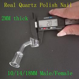 Wholesale Pipe Polishing - 100% real quartz banger nail 45 degree polish 10 14 18mm male female joint for smoking water pipe glass bong bongs best quality