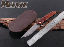 Wholesale Red Wolf Fishing - MEDGE FREE WOLF Classic Damascus VG10 Drop Point Blade Red Sandlewood Handle Folding Pocket Knife EDC Collection Knives With Leather Case