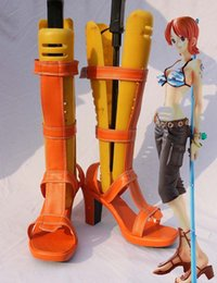 Wholesale One Piece Cosplay Nami - Wholesale-Custom Made Japanese Anime ONE PIECE Nami Cosplay Shoes For Christmas Halloween Party Birthday