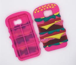 Wholesale Cartoon Hamburger - New Cartoon 3D Hamburger Silicone Funda Case Soft Back Cover For iphone5 5s se 6 6s 6plus sAMSUNG S6 S7 edge Food case