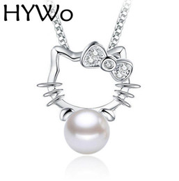 Wholesale Kitty Link - HYWo (without chain) unique design Kitty 925 sterling silver CZ pendant pearl necklace Hypoallergenic jewelry gift for women