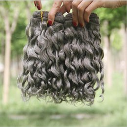 Wholesale Peruvian Curly 3pcs - Hot Sale Pure Color #Grey Hair Weave 8A Peruvian Sliver Grey Human Hair Weft Extensions Deep Curly Wave 3Pcs Lot 10-30'' In Stock