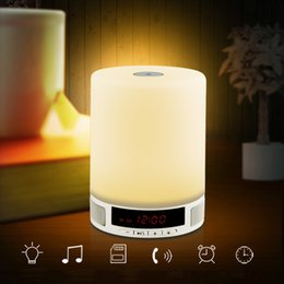 Wholesale Table Computers Wholesale - Wireless Bluetooth Speaker Music Sound Box with Alarm Clock Function Touch LED Table Lamp Support Hands-free Call TF Card Slot