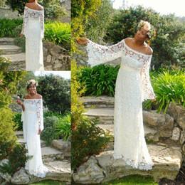 Wholesale Sheath Beach Wedding Dresses - Vintage Beach Wedding Dresses With Long Sleeves 2017 Sweep Train Custom Made Bohemian Boho A Line Plus Size Wedding Bridal Gowns