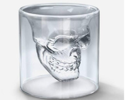 Wholesale doomed skull glass cup - Doomed Crystal Skull Shotglass Cups Head Vodka Shot Glass Cup Beer Wine Whisky Mug Drinkware 75ML 2.5 Ounces Kitchen Dining Bar new