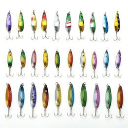 Wholesale Diving Lures - Hot 30Pcs Lot Fishing Lure Kit Set Mixed Color Size Weight Diving Depth 3-6G Metal Spoon Lure Fishing Tackle Bait Isca Artificial