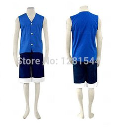 Wholesale Monkey D Luffy Cosplay - Free shipping One Piece Monkey D. Luffy Vest Shorts Cosplay Costumes