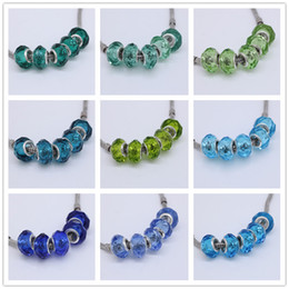 Wholesale Wholesale Glass Rondelle Bead - Wholesales 50pcs Lot Pure Blue Green Murano Glass Crystal Faceted Rondelle Spacer Big Hole Charms Beads For Making European Jewelry Bracelet