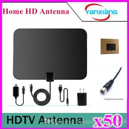 Wholesale Wholesale Digital Antenna - 50pcs Amplified TV Antenna- High Performance Digital HDTV Antenna with Detachable Amplifier Power Supply and 13ft Coax Cable YX-TX-1