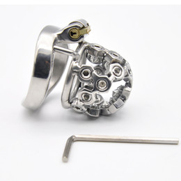 Wholesale stainless steel sex - Latest Design New lock MALE Chastity Devices Stainless Steel small Cage sex toys AB031