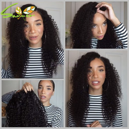 Wholesale Glueless Lacefront Wigs - Glueless Cap Full Lace Wigs Kinky Curly Lace Wigs For Black Woman Virgin Malaysian Curly LaceFront Wig Human Hair Free Shipping