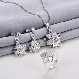 Wholesale Three Flower Diamond Necklace - Fashion Dimensional flower 925 silver necklace earring ring a famliy of three jewelry sets;sterling silver white gemstone set GTFS011B