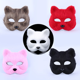 Wholesale Plastic Fox - Masculine masks animal boy and girl half face props toys Halloween little fox fox mask 5 color free shipping