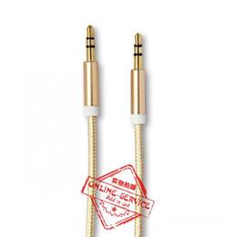 Argentina 3.5mm 8 colores de lujo 3.3 pies AUX Cable chapado en oro macho-macho conector metálico Cable de audio de automóvil auxiliar para auriculares Auriculares Teléfonos móviles Suministro