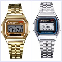 Wholesale Color Changing Led Christmas - 15% F-91W watch fashion LED change watches F-91W sport watch gold silver dial Free Shipping Via DHL