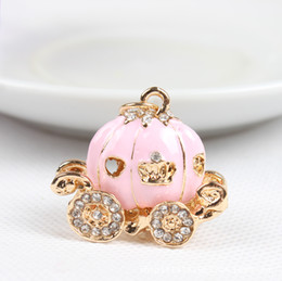Wholesale Pumpkin Charm Gold - Cute Big White Princess Pumpkin Carriage Crystal Charm Keychain Key Ring Alloy Key Chains Accessories Free Shipping