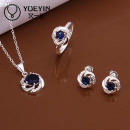 Wholesale Cheap Jade Stones - Wholesale-blue stone S569 Wholesale cheap 925 sterling silver jewelry sets inlaid Crystal for women Alahas Sets Purple stone