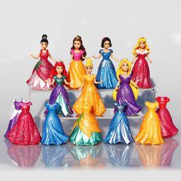Wholesale Abs Dresses - 14Pcs Set Princess Snow White Figures Ariel Belle Rapunzel Aurora PVC Action Figure Toys Dolls Dress Clothes Changeable 8~9cm