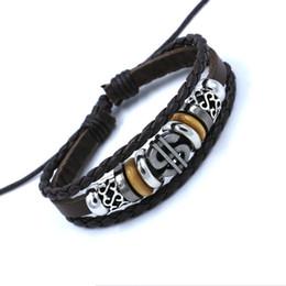 Véritable Cuir Wrap Bracelets Symbole du dollar Bracelet en cuir crâne tête Bracelet Bijoux Promotion En Gros ? partir de fabricateur