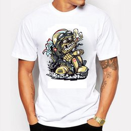 Wholesale Horror Shirts - Top Quality Cotton O Neck Printing Smoking Horror Skull Men Tshirt Short Sleeve casual Wsag T Shirt For Men Clothing