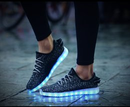 Wholesale Colorful Winter Boots Women - Hot LED Shoes light colorful Flashing Shoes Grey 350 Sneakers Red LED Lights Shoes Green Sports Outdoor Shoes Black Casual Shoes for Sale