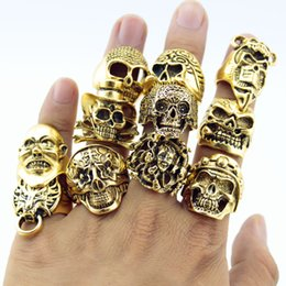 Wholesale Big Top Party - Wholesale- 12 Piece lot Wholesale Mix Big Skull Ring in Jewelry Gold Plate Top Quality Bohemian Statement Punk Ring for Men Free Shipping