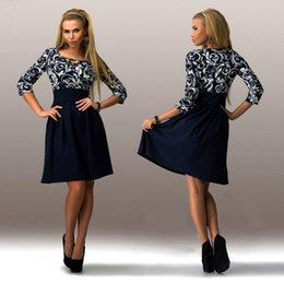Wholesale Sexy Midi Dress For Sale - New products Spring Summer Casual Dresses For Women Vintage Blue Print Dress 3 4 Sleeve Sexy Midi Dress Woman Clothes Plus Size Hot Sale New