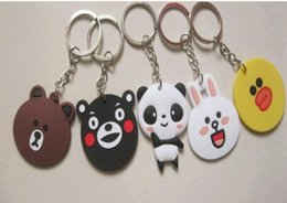 Wholesale Panda Bear Keychain - best gift new 4-4. 5cm key chains exquisite modelling panda bear Pendant animal rubber gift creative cartoon PVC soft Keychain key rings
