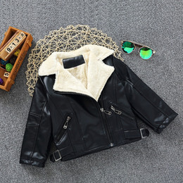 Wholesale Leather Jackets For Kids - 2016-2017 Newest Fashion Leather Kids Jackets Soft Wool Thicken Boys Girl Coats For Winter Baby Birthday Clothing 90--120