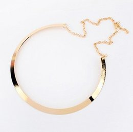 Wholesale Metal Textures Free - Fashion Making simple shape metal texture collar necklace (narrow version of gold) Free Shipping 2016 New necklace Jewelry X107